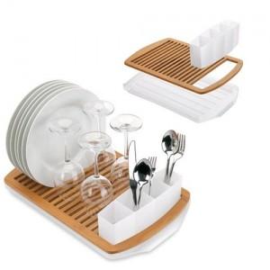 égouttoir à vaisselle en bambou